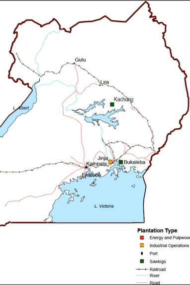 Map showing research sites - Bukaleba and Kachung Central  Forest Reserves. (Source: Green Resources http://www.greenresources.no/Plantations/Uganda.aspx accessed 11 August 2014)